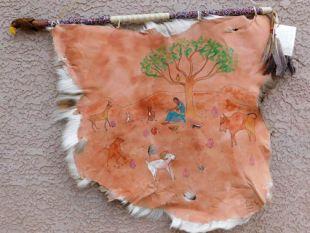 Native American Creek Handpainted Deer Hide--Indian Princess