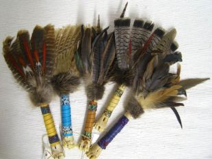 Native American Creek Made Spirit Prayer Fan with Bone Handle