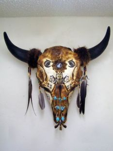 Native American Creek Etched and Decorated Buffalo Skull