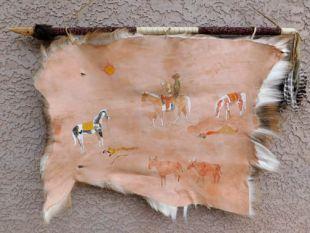 Native American Creek Handpainted Deer Hide--Cattle Rustlers
