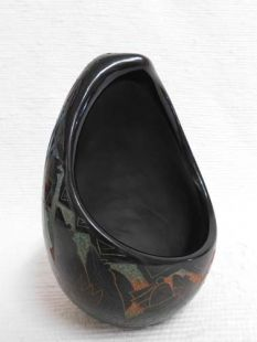 Native American Acoma/Hopi Handbuilt and Handetched Bird and Egg Vase