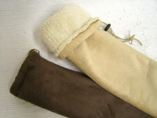 Suede Flute Bag with Shearling Lining