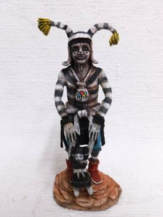 Native American Hopi Carved Clown Katsina Doll with Toy Doll