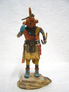 Native American Hopi Carved Mudhead as Hoote Katsina Doll