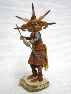 Native American Hopi Carved Yellow Sand Snake Guard Katsina Doll