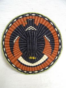 Native American Hopi Made Wicker Plaque with Eagle