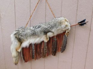 Native American Cherokee Made Coyote Quiver with Arrows