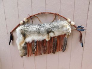 Native American Cherokee Made Coyote Quiver with Bow and Arrows