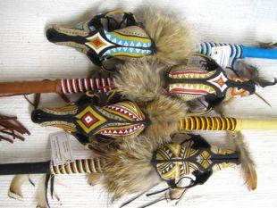 Native American Cherokee Made Coyote Spirit Dance Stick