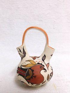 Native American Acoma Handbuilt and Handpainted Wedding Vase with Birds
