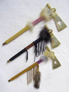 Native American Cherokee Made Brass Hatchets with Working Pipes