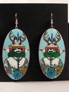 Native American Hopi Made Deer Dancer Earrings