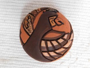 Native American Hopi Handbuilt and Handcarved Seed Pot with Eagle