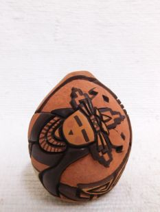 Native American Hopi Handbuilt and Handcarved Pot with Butterfly Maiden