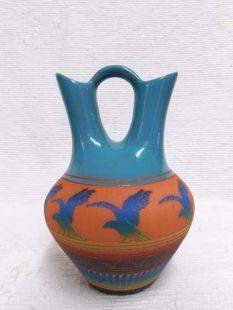 Native American Navajo Red Clay Wedding Vase with Eagles--Laguna