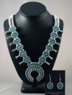 Native American Navajo Made Squash Blossom Necklace and Earrings