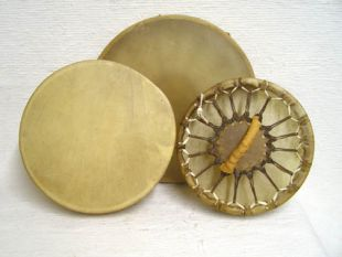 Native American Cherokee Made Single Sided Elk Hand Drums