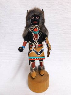 Vintage Native American Hopi Carved Buffalo Dancer Katsina Doll--Black