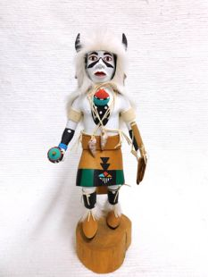 Vintage Native American Hopi Carved Buffalo Dancer Katsina Doll--White