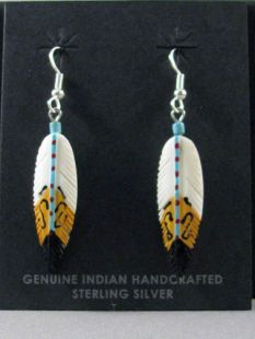 Native American Navajo Made Feather Earrings