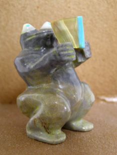 Zuni Carved Frog Fetish with Book