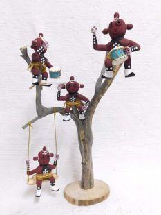 Native American Navajo Made Mudhead Kachina Dolls up a Tree