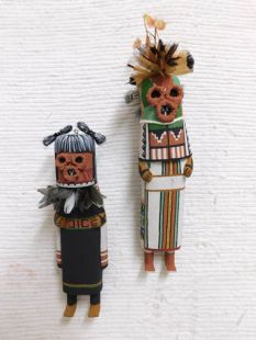 Old Style Hopi Carved Maasaw and Maasaw Mana Traditional Death Katsina Dolls