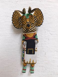 Old Style Hopi Carved Owl Traditional Warrior Katsina Doll