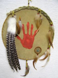 Native American Navajo Made Ceremonial Shield with Handprint
