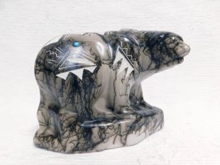 Native American Made Ceramic Horsehair Stone Bear