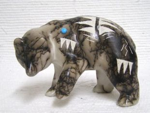 Native American Made Ceramic Horsehair Bear with Paw Lifted