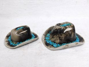Native American Made Ceramic Horsehair Cowboy Hats with Turquoise