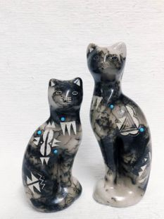 Native American Made Ceramic Horsehair Cat Figurines