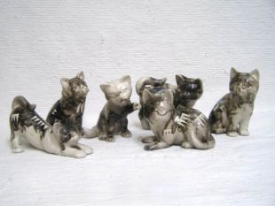 Native American Made Ceramic Horsehair Assorted Cats