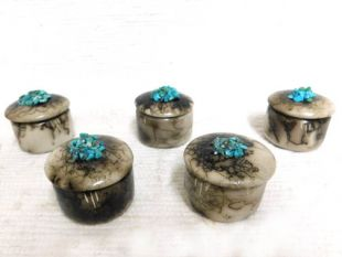 Native American Made Ceramic Horsehair Tiny Pillbox with Turquoise
