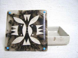 Native American Made Ceramic Horsehair Medium Square Jewelry Box