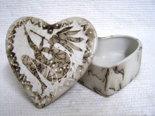 Native American Made Ceramic Horsehair Small Heart Jewelry Box with Kokopelli
