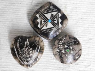 Native American Made Ceramic Horsehair Tiny Jewelry Boxes