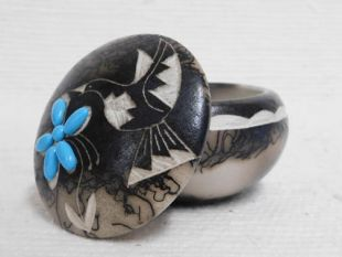 Native American Made Ceramic Horsehair Small Round Jewelry Box with Turquoise