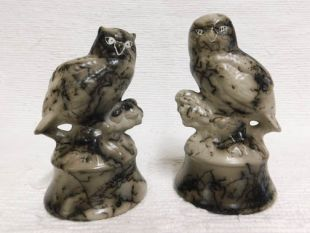 Native American Made Ceramic Horsehair Great Horned and Barn Owls