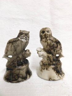 Native American Made Ceramic Horsehair Great Horned and Barn Owl