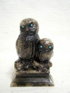Native American Made Ceramic Horsehair Owl Pair