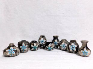 Native American Made Ceramic Horsehair Small Pots with Turquoise