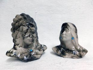Native American Made Ceramic Horsehair Chief and Maiden Busts