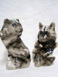 Native American Made Ceramic Horsehair Bear or Wolf Spirit Totems