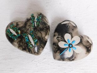 Native American Made Ceramic Horsehair Medium Jewelry Boxes with Turquoise