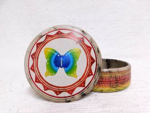 Native American Navajo Made Ceramic Fine Etched Horsehair Jewelry Box with Butterfly
