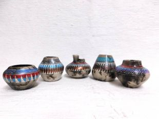 Native American Navajo Made Painted Horsehair Small Assorted Pots