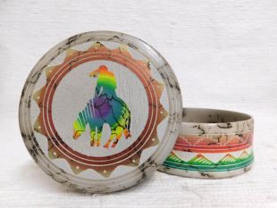 Native American Navajo Made Ceramic Fine Etched Horsehair Jewelry Box with End of the Trail