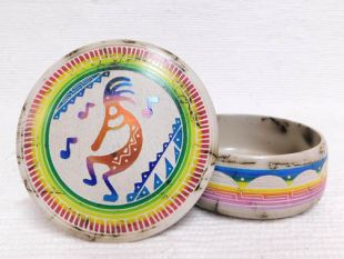 Native American Navajo Made Ceramic Fine Etched Horsehair Jewelry Box with Kokopelli
